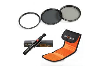 (55MM) - K & F Concept 55mm UV CPL ND4 Lens Accessory filter Kit UV Protector Circular Polarising filter Neutral Density filter for Sony A37 A55 A57 A65 A77 A100 DSLR Cameras + Cleaning Pen + filter Bag Pouch