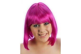 (Neon Purple) - Black White Blonde Brown Red Pink Orange Purple Glam Blunt bob with fringe wig (Neon Purple)