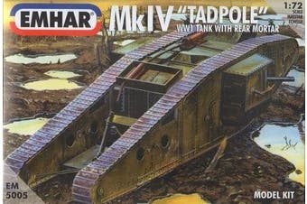 "Emhar WWI British Mk.IV ""Tadpole"" Tank with Rear Mortar - 1:72 Plastic Model Kit"