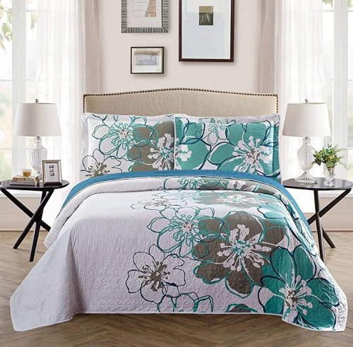 Fancy Linen 3pc Full//Queen Bedspread Quilt Set Over Size Bed Cover with Flowers Pink//Red Light Pink Turquoise Navy Blue White Sophia Burgundy, Full//Queen