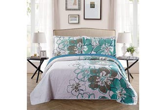 (Full/Queen, White Grey Green Floral) - Fancy Collection 3 Pc Bedspread Bed Cover White Grey Green Floral (Queen)