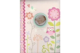"Baby's First Memmory Book ""Look Whoo's Adorable"" Pink W/flowers, Owls, & Bird"