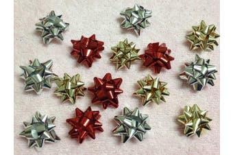 (Christmas Mix) - 20pc 2.5cm Metallic Mini Star Confetti Bows Christmas Gift Wrap Bows (Christmas ...