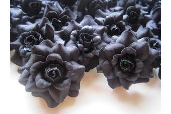 (24) Silk Black Roses Flower Head - 4.4cm - Artificial Flowers Heads Fabric Floral Supplies Wholesale Lot for Wedding Flowers Accessories Make Bridal Hair Clips Headbands Dress