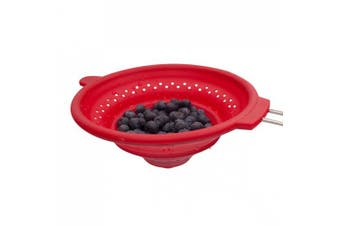 Marathon Housewares KW030031 Large Easy to Clean and Store Silicone Strainer with Wide Grip, Red