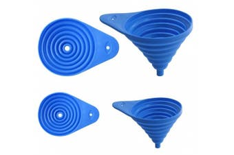 Set of 2 Flexible Collapsible Funnel Set, Assorted Sizes 7.6cm and 13cm