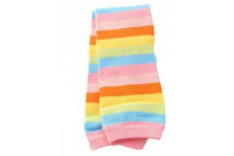 (Pink) - Baby Red Pink Rainbow Stripe Leg Warmers Age 3 months upto 5 years old (Pink)
