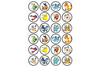 (24 UNCUT) - 24 Pokemon Edible PREMIUM THICKNESS SWEETENED VANILLA, Wafer Rice Paper Cupcake Toppers/Decorations