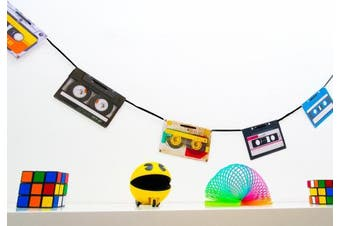 80s Party Decorations - Retro Cassette Tape Bunting