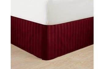 (California King, Burgundy) - Wrinkle Free - Egyptian Quality STRIPE Bed Skirt - Pleated Tailored 36cm Drop - All Sizes and Colours , California King , Burgundy