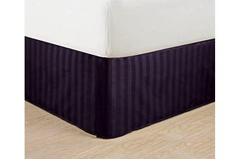 (King, Purple) - Wrinkle Free - Egyptian Quality Stripe Bed Skirt - Pleated Tailored 36cm Drop and Colours, King, Purple