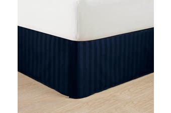 (California King, Navy Blue) - Wrinkle Free - Egyptian Quality STRIPE Bed Skirt - Pleated Tailored 36cm Drop - All Sizes and Colours , California King , Navy Blue