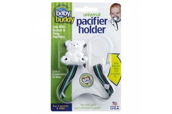 (Bermuda Cool) - Baby Buddy Universal Pacifier Holder Clip - Snaps to Paci or Attach with Universal-Fit Silicone Ring - Pacifier Clip for Babies 4+ Months/Toddler Boys & Girls, Bermuda Cool