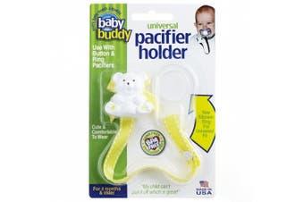 (Yellow with White Stitch) - Baby Buddy Universal Pacifier Holder, Yellow with White Stitch