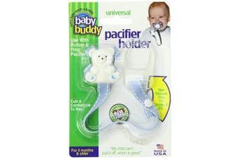 (Blue With White Stitch) - Baby Buddy Universal Pacifier Holder, Blue with White Stitch