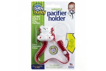 (Red with White Stitch) - Baby Buddy Universal Pacifier Holder, Red with White Stitch