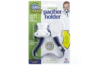 (Navy With White Stitch) - Baby Buddy Universal Pacifier Holder, Navy with White Stitch