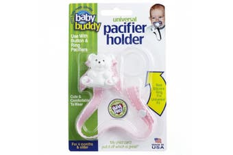 (Pink with White Stitch) - Baby Buddy Universal Pacifier Holder Clip - Snaps to Paci or Attach with Universal-Fit Silicone Ring - Pacifier Clip for Babies 4+ Months/Toddler Boys & Girls, Pink with White Stitch