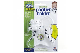 (Black-Grey Dots) - Baby Buddy Universal Pacifier Holder Clip - Snaps to Paci or Attach with Universal-Fit Silicone Ring - Pacifier Clip for Babies 4+ Months/Toddler Boys & Girls, Blue with White Stitch