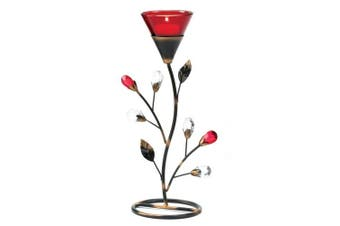 Gifts & Decor Ruby Blossom Tealight Candle Holder Stand Centrepiece