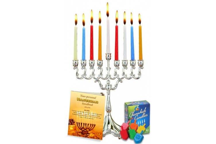 Complete Hanukkah Menorah Set! Menorah - Candles - Dreidels - Candle Magic Stick - Hanukkah Handbook