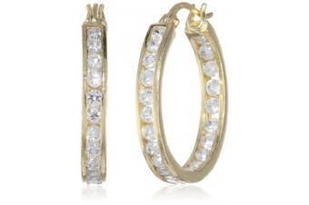 (yellow-gold-flashed-silver) - Sterling Silver Cubic Zirconia Medium Round Hoop Earrings (3/4 cttw)