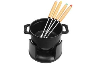 (0.2l, Matte Black) - STAUB Cast Iron Mini Chocolate Fondue Set, 0.2l, Black Matte