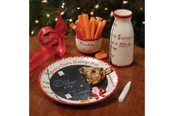 (1, Red) - Santa's Writable Message Cookies And Milk Plate Set
