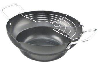Carbon Steel Tempura Pot Fryer with Drainer - 24cm inch