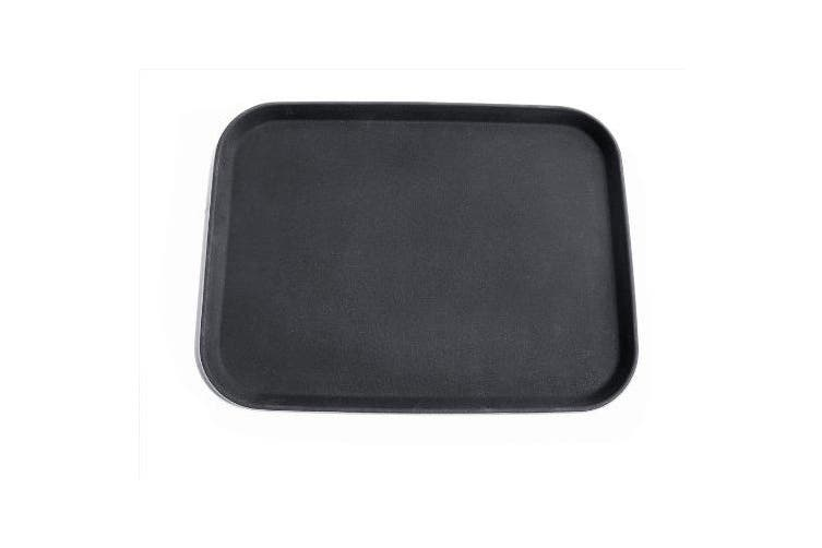 New Star 24975 NSF Plastic Rectangular Rubber Lined Non-Slip Tray, 30cm by 41cm , Black