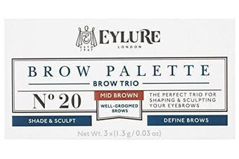Eylure Brow Palette - Brow Sculpting and Shaping Trio (Mid Brown) 3x (1.3g0ml)