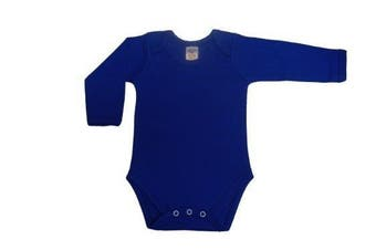 BabywearUK Body Vest Env Neck Long Sleeved - Royal blue - 6/12 months - British Made