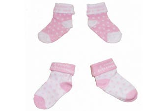 (0-3 Months) - Baby Girls Cute Socks 2 Pairs - Pink & White 'I Love Daddy' (0-3 Months - UK 0-2)