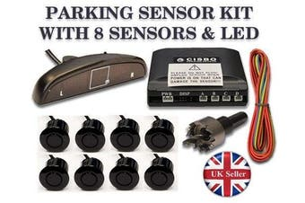 Parking Reversing 8 Sensors buzzer LED displayer system - Bright Red