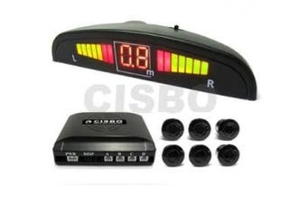 6 Rear Parking Reversing Sensors with LED Display 2 Front 4 Rear - Dark Grey