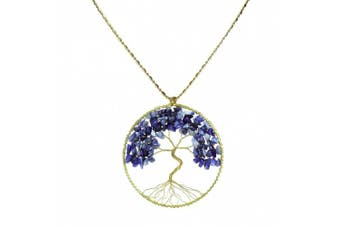 AeraVida Simulated Blue Lapis-Lazuli Stone Eternal Tree of Life Brass Long Necklace