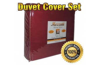 (King / Cal King, Burgundy) - Mezzati Luxury Duvet Cover 3 piece Set - Softest, Cosiest, Highest Quality Brushed Microfiber - Wrinkle Resistant - Hypoallergenic - Prestige 1800 Collection Bedding (Burgundy, King)