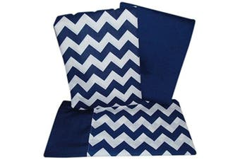 (Navy) - Baby Doll Bedding Chevron Pillowcase and Sheet set for Crib and Toddler bed, Navy