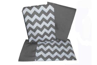 (Grey) - Baby Doll Bedding Chevron Pillowcase and Sheet set for Crib and Toddler bed, Grey