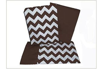 (Brown) - Baby Doll Bedding Chevron Pillowcase and Sheet set for Crib and Toddler bed, Brown