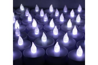 (60, white) - 60 PCS Battery Operated Flameless Flickering LED Tealights Candles for Wedding, Luminary Bags, Decorations, Centrepieces, Holidays~ Cool White ~BlueDot Trading