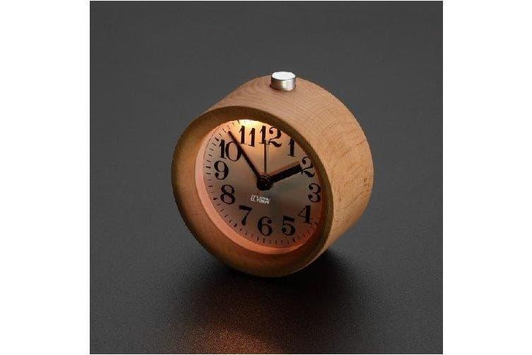 (90*90*50mm, Light Woodgrain) - ECVISION Handmade Classic Small Round Silent table Snooze beech Wood Alarm Clock with nightlight