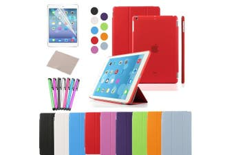 (iPad Air, Red) - Besdata For Apple iPad Air Magnetic Smart Cover Stand + Hard Back Case Free Stylus - Supreme Quality - Protects the Device - UK Stock - Red - PT4103