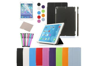 (iPad Air, Black) - Besdata Magnetic Smart Cover Stand + Hard Back Case Free Stylus For Apple iPad Air - Supreme Quality - Protects the Device - UK Stock - Black - PT4100