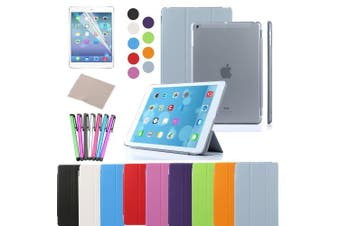 (iPad Air, Grey) - Besdata For Apple iPad Air Magnetic Smart Cover Stand + Hard Back Case Free Stylus - Supreme Quality - Protects the Device - UK Stock - Silver- PT4108