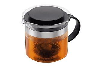 (Black/Clear, 1.5 L (1510ml)) - Bodum 1870-01 BISTRO NOUVEAU Tea Maker (Plastic Tea Stainer, Heat-Resistant Glass, 1.5 L1510ml) - Black/clear