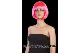 "(Neon Pink) - Short Babe ""Bob"" Fancy Dress Wigs (Neon Pink)"