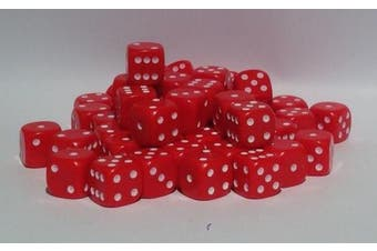 (Red) - 50 x 10mm opaque Plastic dice (Red)