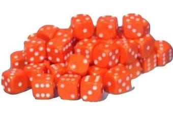 (Orange) - 50 x 10mm opaque Plastic dice (Orange)