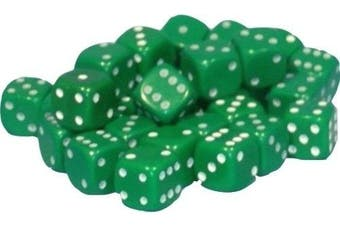 (Green) - 50 x 10mm opaque Plastic dice (Green)